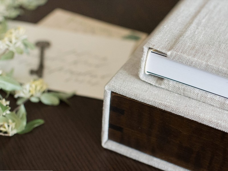 square spine binding shown with gift Box