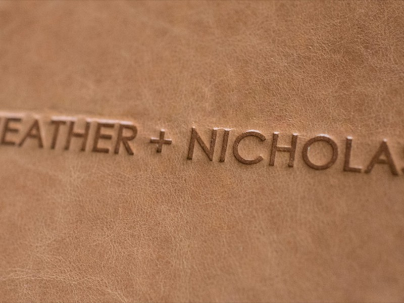 signature leather cover with imprinting