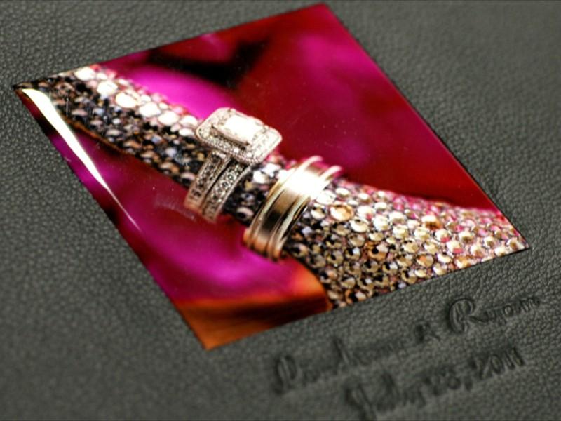 signature cover with acrylic cameo and imprinting